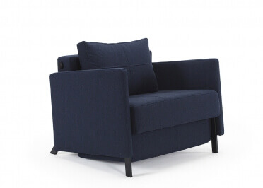 FAUTEUIL CONVERTIBLE DESIGN GRIS OU BLEU CUBED 02 ARMS PAR INNOVATION LIVING