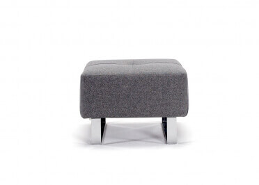 POUF DE QUALITE BLEU OU GRIS AVEC PIEDS EN METAL CHROME SUPREMAX PAR INNOVATION LIVING