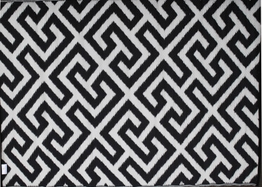 TAPIS D'EXTERIEUR NOIR-CREME REVERSIBLE EN PLASTIQUE RECYCLE PICKET FENCE PAR GREEN DECORE