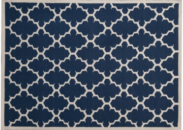 TAPIS BLEU DESIGN GRAPHIQUE FORME LOSANGES JALI PAR GREEN DECORE