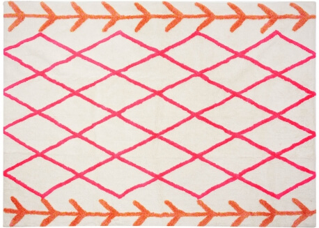 TAPIS DECORATIF BERBERE MOTIF LOSANGES ORANGE ET ROSE TRES TENDANCE KABILA PAR ARATEXTIL