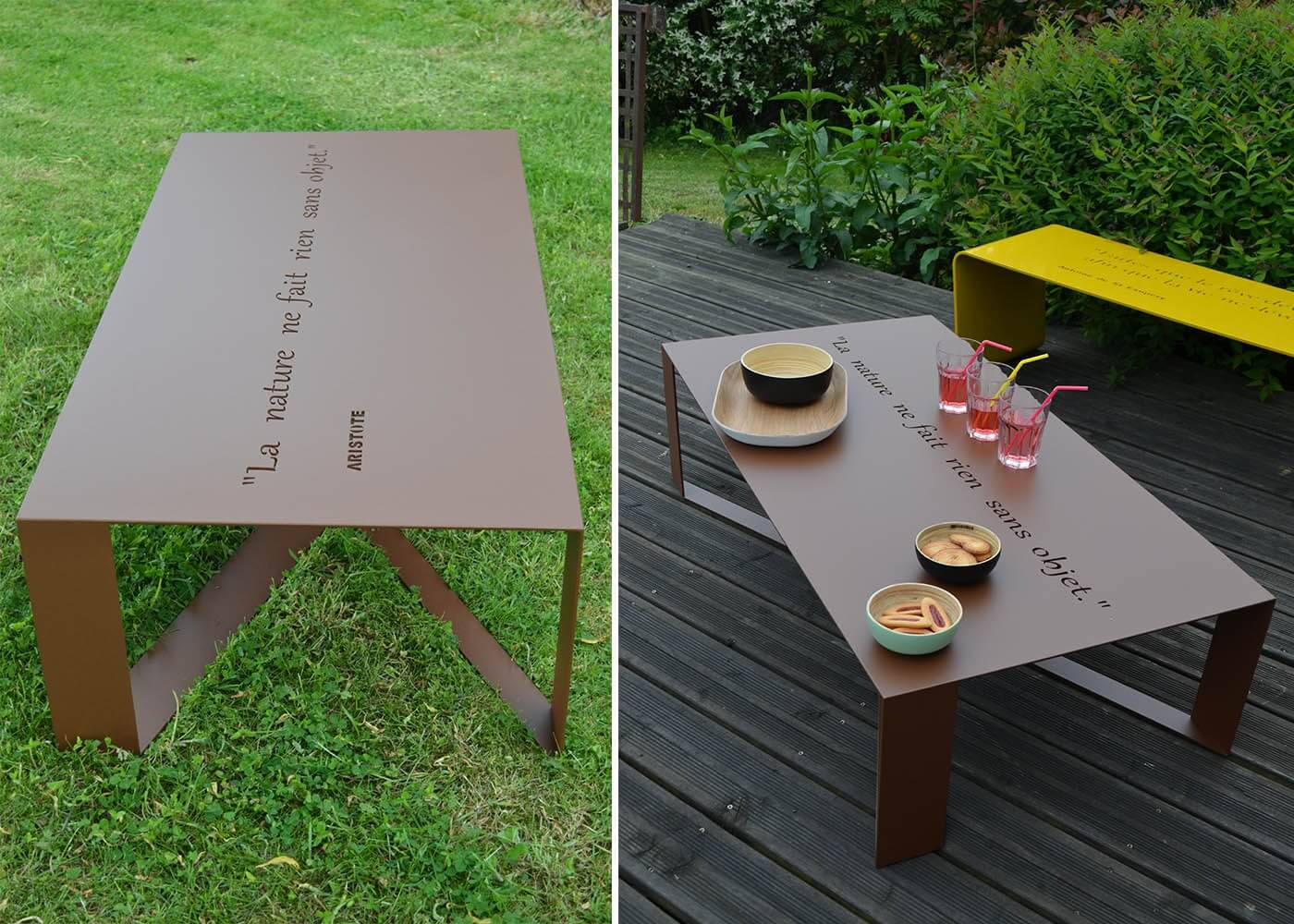 Table de salon de jardin en m tal 14 couleurs en vente for Table exterieur tridome