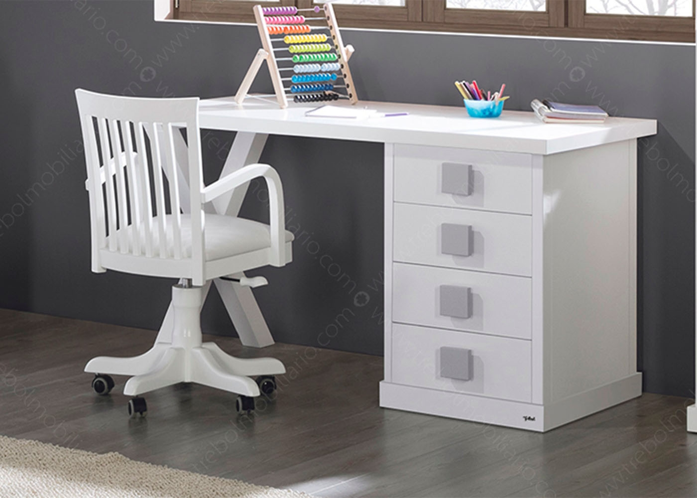 bureau l 150 cm avec caisson 4 tiroirs 16 couleurs ksl. Black Bedroom Furniture Sets. Home Design Ideas