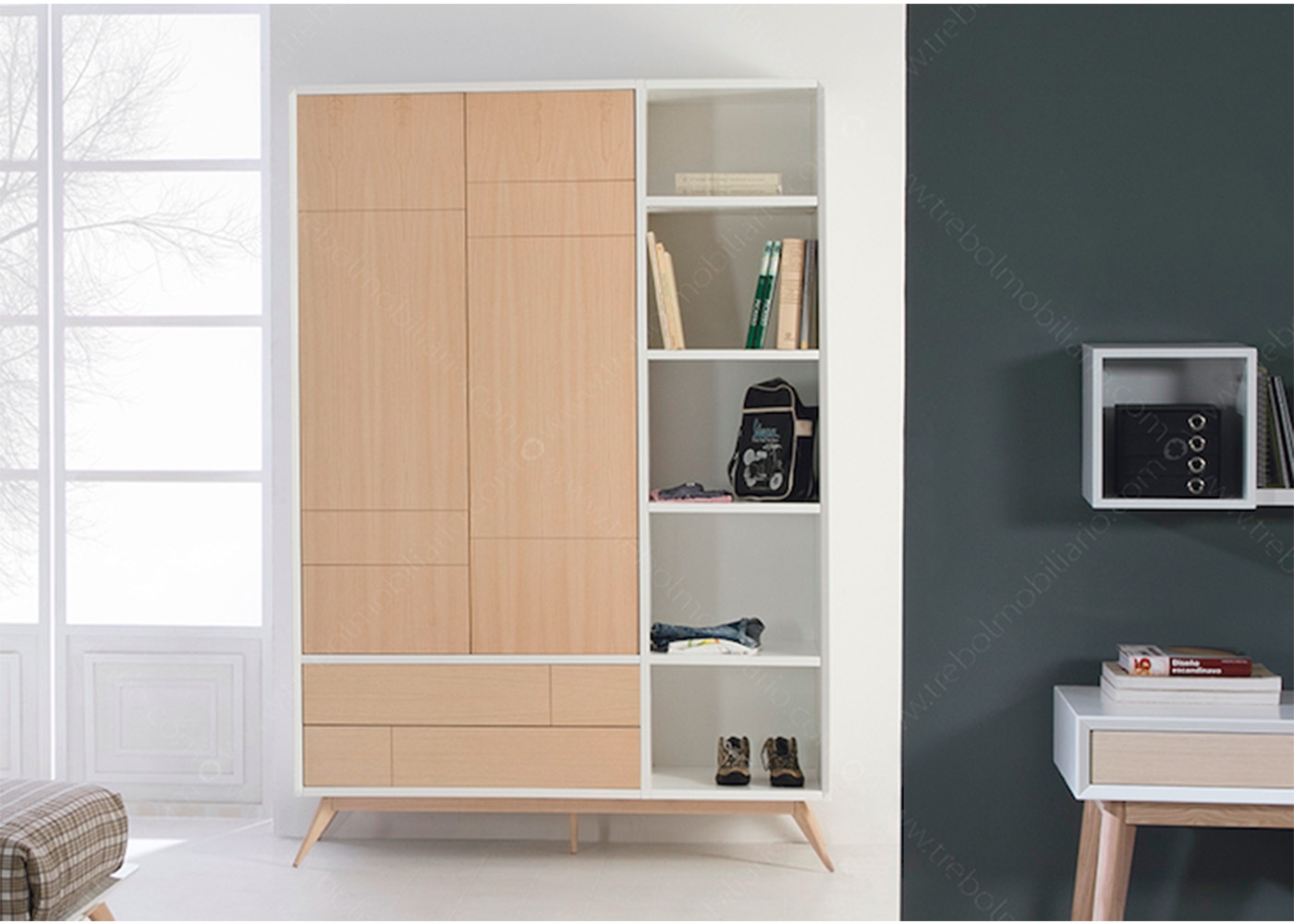 armoire et biblioth que design scandinave en fr ne et mdf chez ksl living. Black Bedroom Furniture Sets. Home Design Ideas