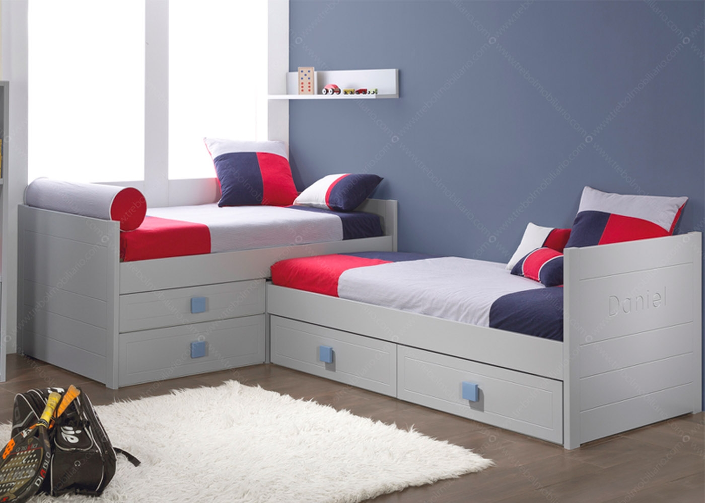 chambre pour 2 enfants avec 2 lits et biblioth que de qualit. Black Bedroom Furniture Sets. Home Design Ideas