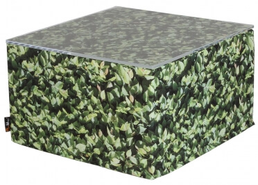 TABLE BASSE OU GRAND POUF CARRE EN POLYESTER ET MOUSSE SECHE AU DESIGN PELOUSE VERTE ORIGINAL COLLECTION HORNBEAM PAR MEROWINGS