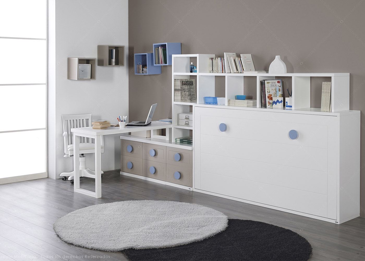 AMENAGEMENT DE STUDIO IDEAL GAIN DE PLACE AVEC LIT ESCAMOTABLE BUREAU ET  BIBLIOTHEQUE   URBAN ZONE