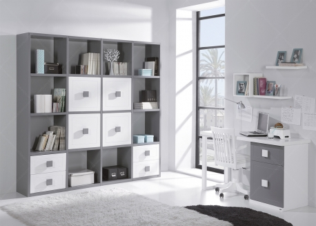 AMENAGEMENT DE SALON OU BUREAU EN HOME OFFICE AVEC BIBLIOTHEQUE ET BUREAU DESIGN ET DE QUALITE - URBAN ZONE PAR TREBOL