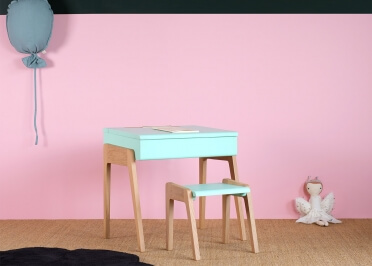 BUREAU ENFANT DESIGN EN CHENE ET MDF BLANC ROSE OU VERT MENTHE - MY LITTLE PUPITRE PAR JUNGLE BY JUNGLE