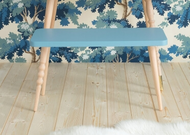 BANC ENFANT DESIGN SCANDINAVE 60x24xH30 EN HETRE BLANC ROSE VERT OU BLEU - MY LOVELY BALLERINE PAR JUNGLE BY JUNGLE