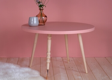 TABLE BASSE RONDE Ø60 CM BLANC ROSE VERT OU NOIR EN HETRE OU NOYER 2 HAUTEURS - MY LITTLE BALLERINE PAR JUNGLE BY JUNGLE