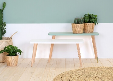 BANC EN BOIS DESIGN L60*H37 BLANC ROSE VERT OU BLEU - MY LOVELY BALLERINE PAR JUNGLE BY JUNGLE