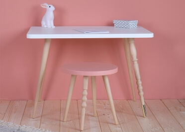 TABOURET GUERIDON DESIGN Ø 30 CM EN HETRE OU NOYER BLANC ROSE VERT BLEU OU NOIR - MY LOVELY BALLERINE PAR JUNGLE BY JUNGLE