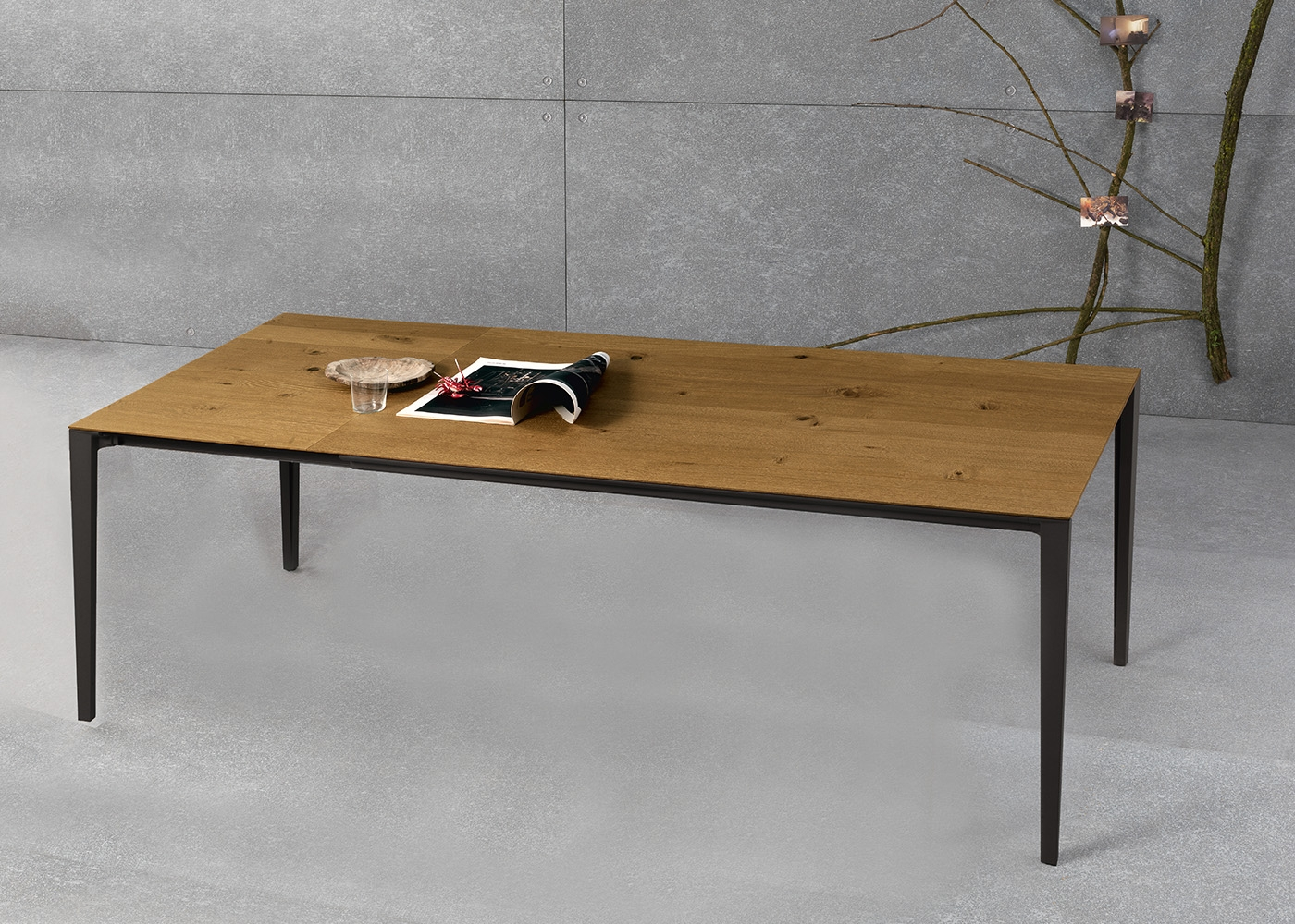 Table de repas en ch ne ou noyer au design sobre et for Table de salle a manger chez but