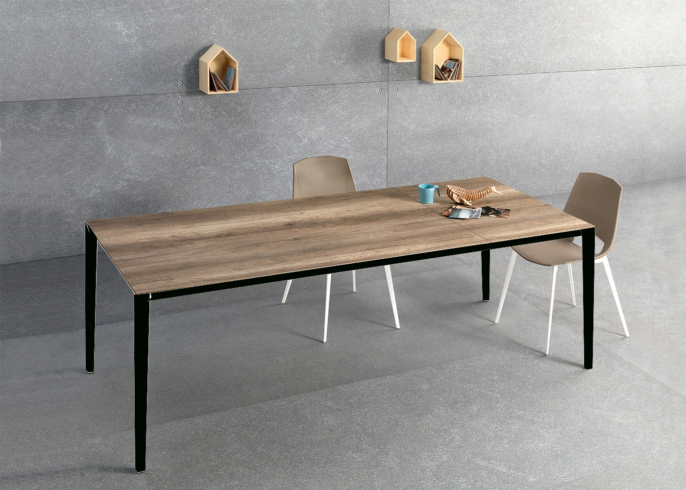 Table de repas en ch ne ou noyer au design sobre et for Table de salle a manger 200 cm