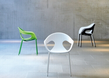CHAISES DE TABLE - FAUTEUILS DE TABLE DESIGN POLYPROPYLENE NOIR OU BLANC - SET DE 4 UNITES SUNNY PAR JANKURTZ