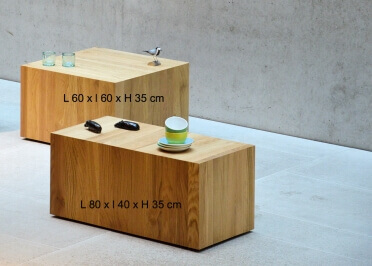 TABLE BASSE TABLE DE SALON EN CHENE MASSIF NATUREL SUR ROULETTES RECTANGLE OU CARREE - ROLL-IT PAR JANKURTZ