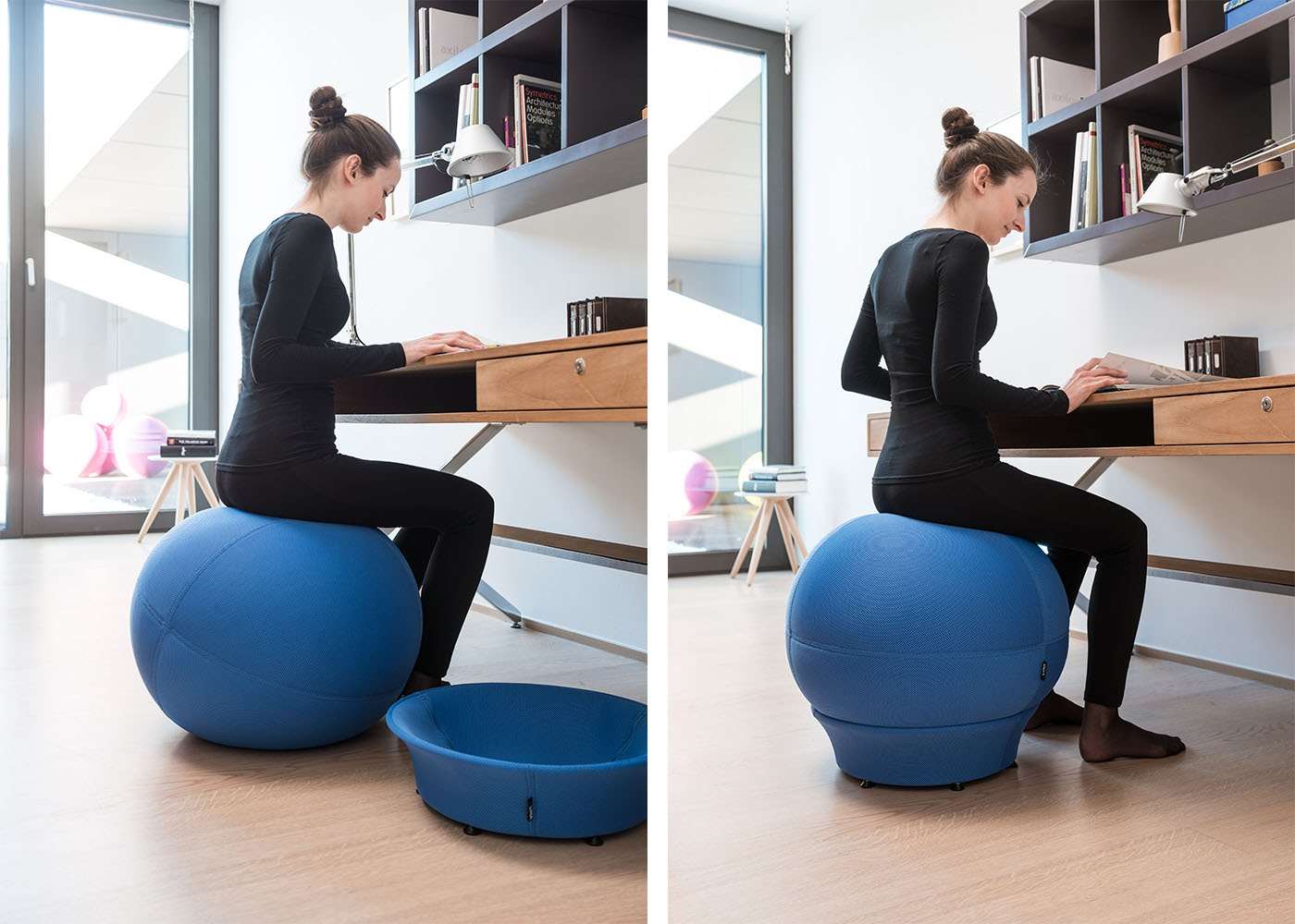si ge en forme de ballon de gym id al pour un bon maintien chez ksl living. Black Bedroom Furniture Sets. Home Design Ideas