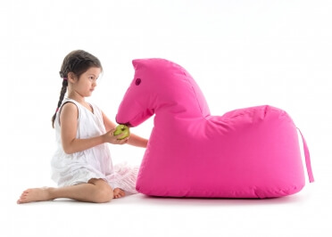 ASSISE ORIGINALE POUR ENFANT EN FORME DE CHEVAL MARRON ROUGE ROSE OU BLEU LOTTE PAR SITTING BULL