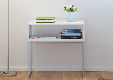 TABLE D'APPOINT CONTEMPORAINE EN ACIER ET FRENE BLANC - DINA PAR JANKURTZ