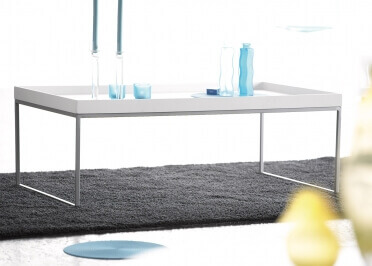 TABLE BASSE DESIGN AVEC PLATEAU FRENE BLANC OU CHENE NATUREL - PIZZO PAR JANKURTZ