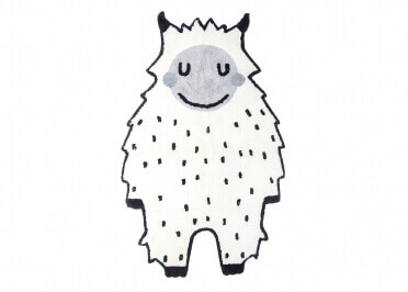 TAPIS ENFANT NOIR ET BLANC MOTIF YETI LITTLE BIGFOOT PAR NATTIOT