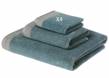 SERVIETTES A MAIN POUR INVITES 30X50 EN COTON VERT GRIS 550G - DEEP NIGHT PAR HOME CONCEPT