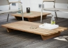 TABLE BASSE EXTERIEUR OU INTERIEUR EN TECK RECYCLE CARREE OU RECTANGLE - NEWPORT PAR JANKURTZ