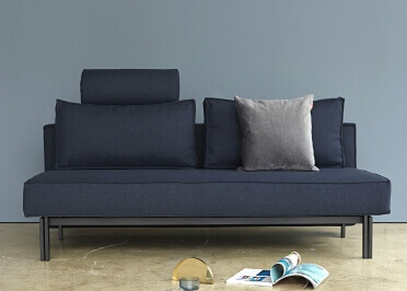 CANAPE DESIGN CONVERTIBLE EN LIT 2 PLACES GRIS BORDEAUX OU BLEU SLY PAR INNOVATION LIVING