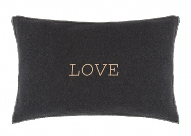 COUSSIN GRIS CLAIR OU ANTHRACITE INSCRIPTION LOVE - SET DE 2 UNITES - HOUSE IN STYLE