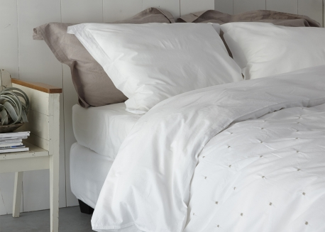 HOUSSE DE COUETTE + TAIES OREILLER COTON BLANC VADENA - HOUSE IN STYLE