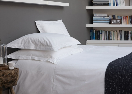HOUSSE DE COUETTE + TAIES OREILLER COTON BLANC FLORENCE - HOUSE IN STYLE