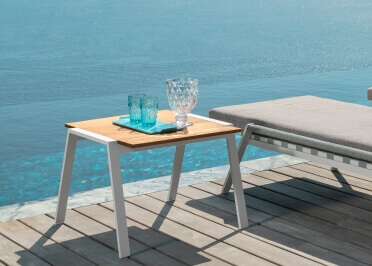 TABLE D'APPOINT DESIGN EN IROKO ET ALUMINIUM 3 COULEURS - COTTAGE TALENTI