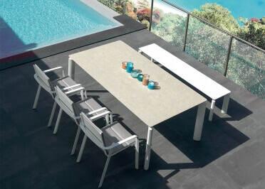 TABLE EN CERAMIQUE BEIGE OU GRIS EXTENSIBLE MILO PAR TALENTI