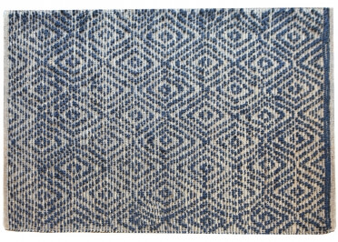 TAPIS EN CHANVRE ET COTON BEIGE BLEU NOVICE - THE RUG REPUBLIC