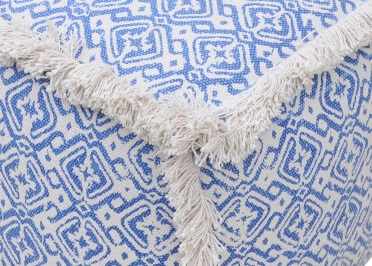 POUF EN COTON BLEU 40X40X40 BAOTOU - THE RUG REPUBLIC