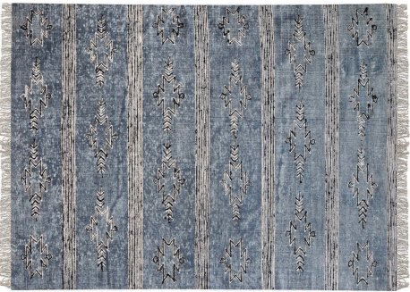 TAPIS DESIGN ETHNIQUE EN COTON BLEU INDIGO GAMBA PAR THE RUG REPUBLIC