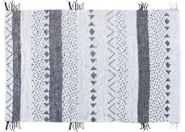 TAPIS GRAPHIQUE NOIR ET BLANC EN FIBRES RECYCLEES CALLISTA - THE RUG REPUBLIC
