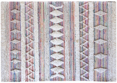 TAPIS BLANC ET MULTICOLORE EN COTON RECYCLE ET LAINE HYRAX - THE RUG REPUBLIC