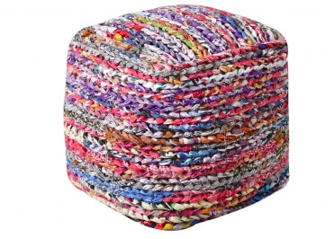 POUF CUBIQUE MULTICOLORE EN COTON RECYCLE MILA - THE RUG REPUBLIC