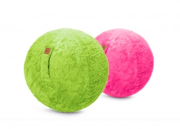 POUF BALLON EFFET FOURRURE GRIS VERT OU ROSE SITTING BALL FLUFFY - JUMBO BAG