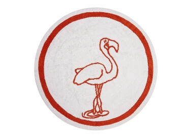 TAPIS ENFANT ROND FLAMANT ROSE D140 BLANC ORANGE FLAMINGO PAR ARATEXTIL