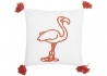 SET DE 2 COUSSINS FLAMANT ROSE BLANC ORANGE FLAMINGO 45x45 PAR ARATEXTIL