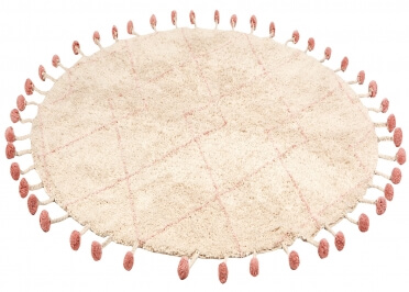 TAPIS ROND EN COTON NATUREL-MANGUE OU NATUREL-ROSE D 135 CM - TANVI PAR NATTIOT