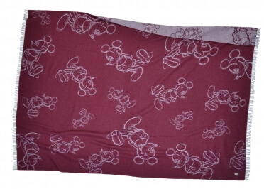 PLAID EN LAINE NOIR ROUGE OU BORDEAUX 140x190 MICKEY MUST PAR ZOEPPRITZ