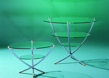 TABLE GUERIDON DESIGN EN VERRE TRINO