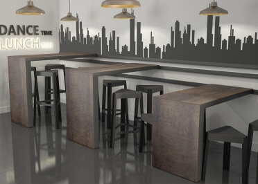 TABLE BAR COULISSANTE SUR GLISSIERE EN CERAMIQUE 6 DIMENSIONS - SLIDE PAR CANCIO