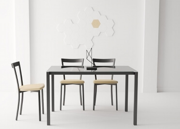 TABLE DE REPAS EN VERRE TREMPE TRANSPARENT NOIR GRIS BLANC ROUGE OU TOURTERELLE - LOGIC PAR CANCIO