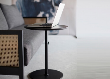 TABLE BASSE AJUSTABLE - CHEVET OU BOUT DE CANAPE EN METAL ET CHENE NOIR - KIFFA PAR INNOVATION LIVING