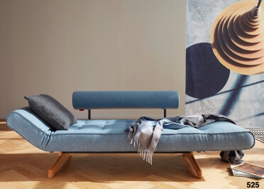 CANAPE LIT DESIGN SCANDINAVE AVEC PIETEMENT EN BOIS DE CHENE - TEXTILE OU SIMILI CUIR GHIA WOOD - INNOVATION LIVING